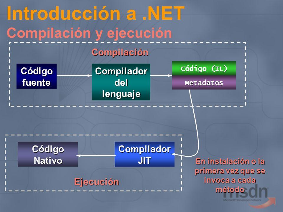 Assembly Introducción a.NET Compilación y ejecución Código fuente Compilador del lenguaje Compilación En instalación o la primera vez que se invoca a