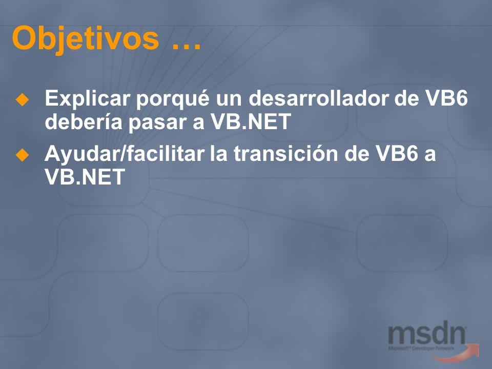 Objetivos … Explicar porqué un desarrollador de VB6 debería pasar a VB.NET Ayudar/facilitar la transición de VB6 a VB.NET