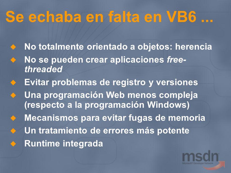Se echaba en falta en VB6... No totalmente orientado a objetos: herencia No se pueden crear aplicaciones free- threaded Evitar problemas de registro y