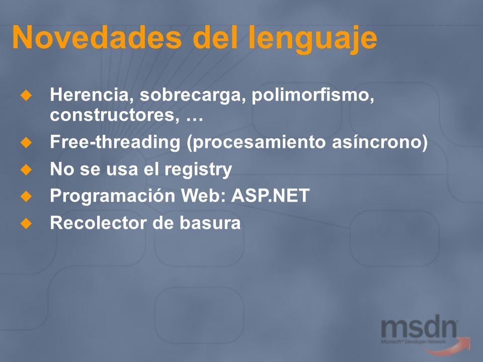 Novedades del lenguaje Herencia, sobrecarga, polimorfismo, constructores, … Free-threading (procesamiento asíncrono) No se usa el registry Programació