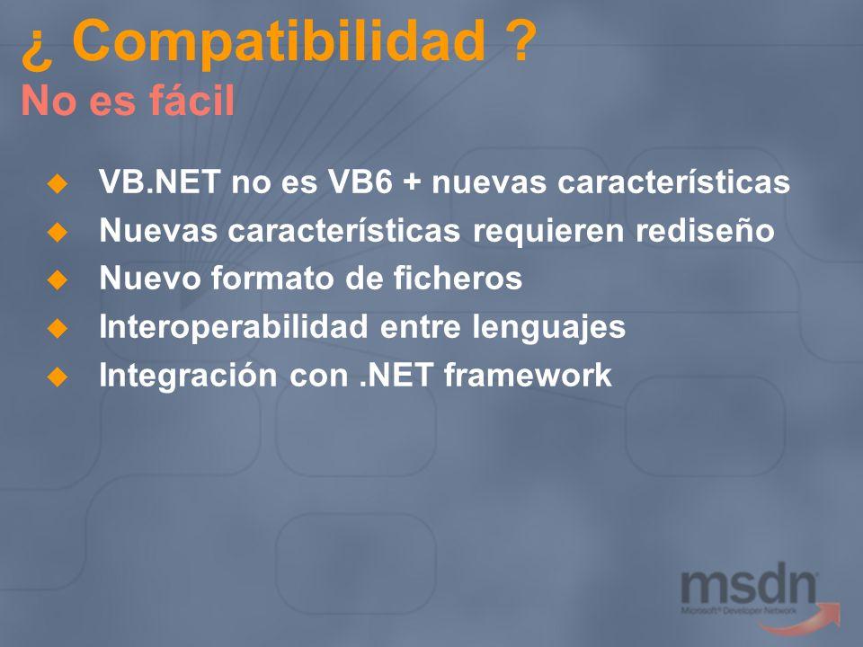 VB.NET no es VB6 + nuevas características Nuevas características requieren rediseño Nuevo formato de ficheros Interoperabilidad entre lenguajes Integr