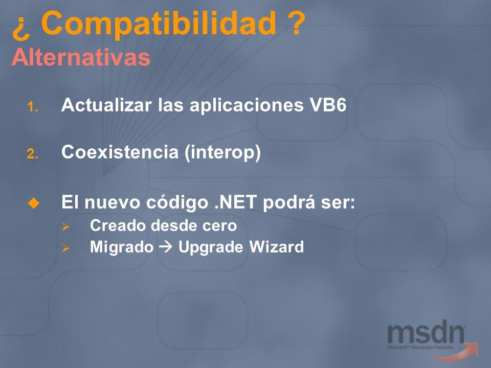 ¿ Compatibilidad ? Alternativas 1. Actualizar las aplicaciones VB6 2. Coexistencia (interop) El nuevo código.NET podrá ser: Creado desde cero Migrado