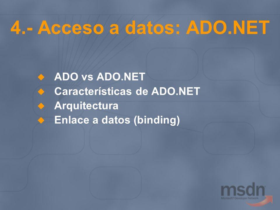 4.- Acceso a datos: ADO.NET ADO vs ADO.NET Características de ADO.NET Arquitectura Enlace a datos (binding)