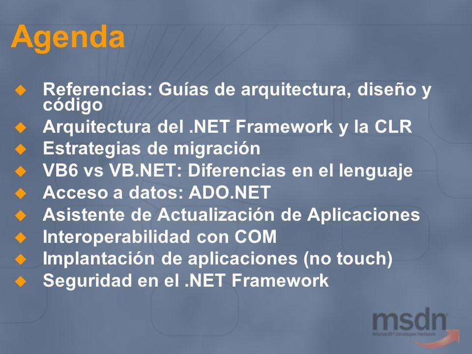 Agenda Referencias: Guías de arquitectura, diseño y código Arquitectura del.NET Framework y la CLR Estrategias de migración VB6 vs VB.NET: Diferencias