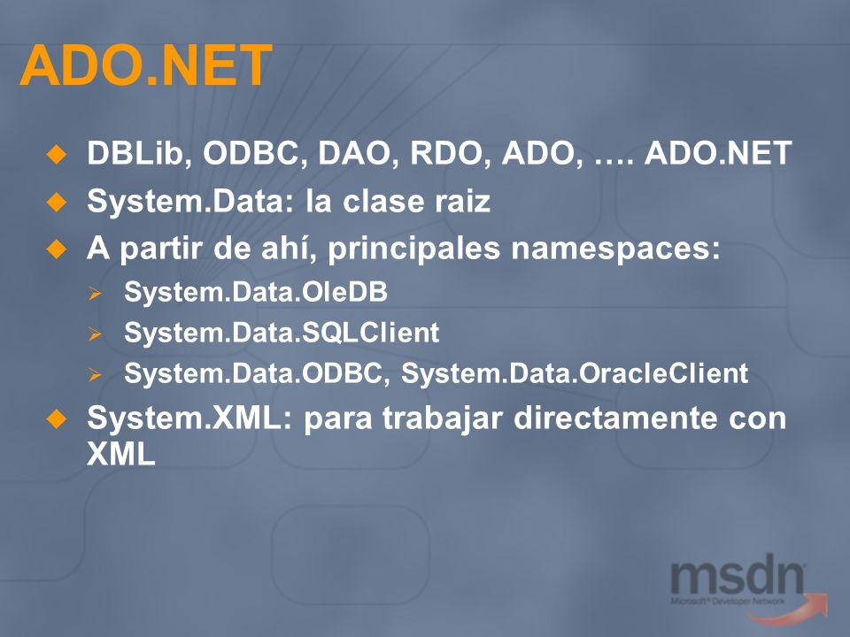 ADO.NET DBLib, ODBC, DAO, RDO, ADO, …. ADO.NET System.Data: la clase raiz A partir de ahí, principales namespaces: System.Data.OleDB System.Data.SQLCl