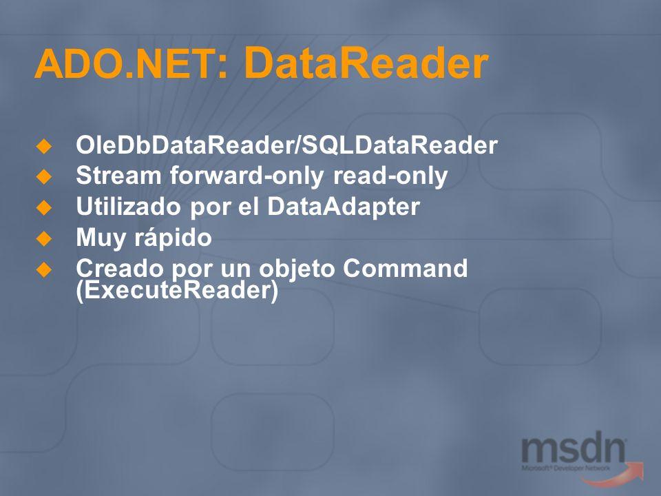ADO.NET : DataReader OleDbDataReader/SQLDataReader Stream forward-only read-only Utilizado por el DataAdapter Muy rápido Creado por un objeto Command