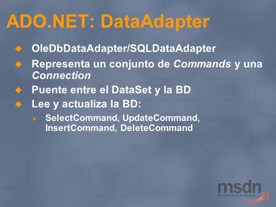 ADO.NET: DataAdapter OleDbDataAdapter/SQLDataAdapter Representa un conjunto de Commands y una Connection Puente entre el DataSet y la BD Lee y actuali