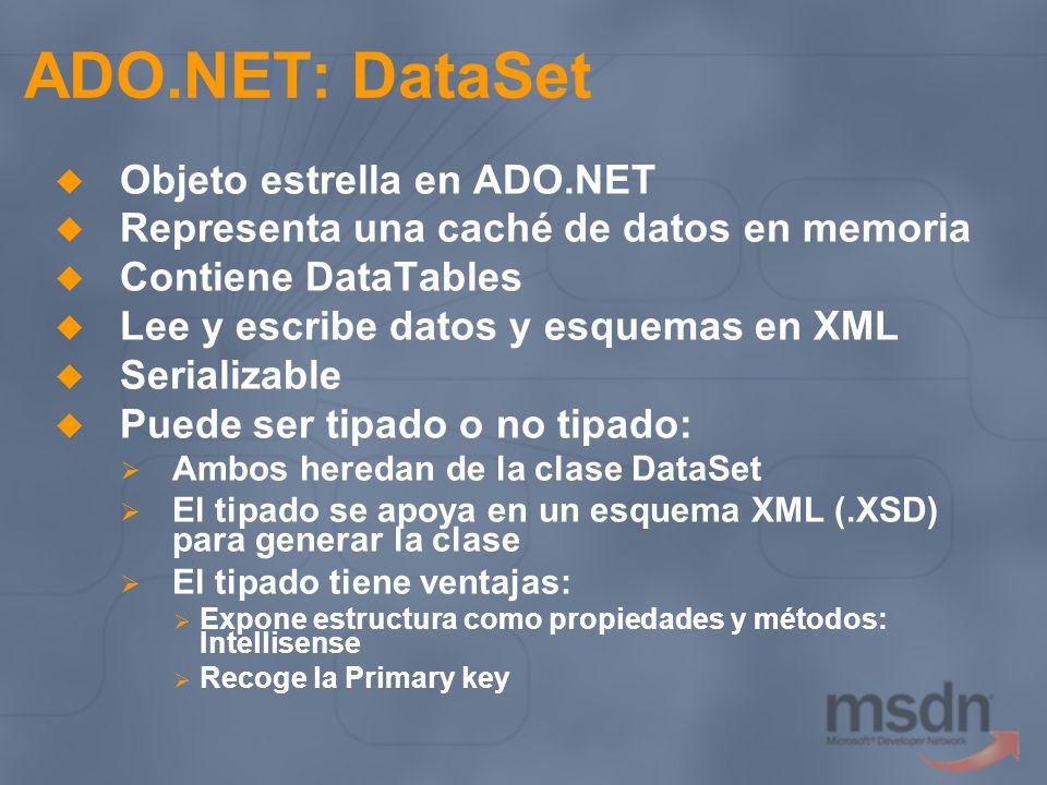 ADO.NET: DataSet Objeto estrella en ADO.NET Representa una caché de datos en memoria Contiene DataTables Lee y escribe datos y esquemas en XML Seriali