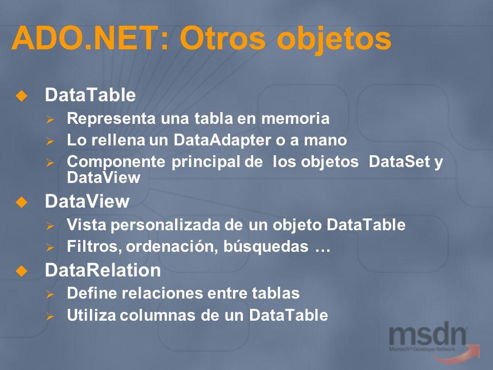 ADO.NET: Otros objetos DataTable Representa una tabla en memoria Lo rellena un DataAdapter o a mano Componente principal de los objetos DataSet y Data