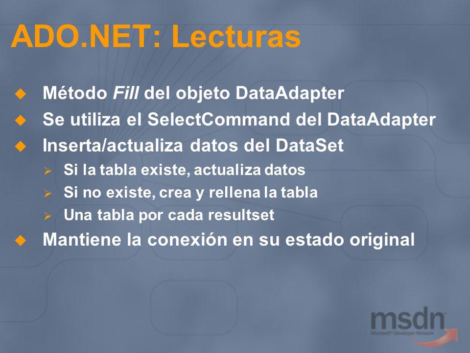 ADO.NET: Lecturas Método Fill del objeto DataAdapter Se utiliza el SelectCommand del DataAdapter Inserta/actualiza datos del DataSet Si la tabla exist