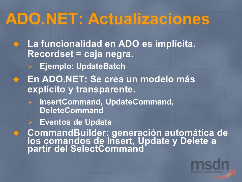 ADO.NET: Actualizaciones La funcionalidad en ADO es implícita. Recordset = caja negra. Ejemplo: UpdateBatch En ADO.NET: Se crea un modelo más explícit