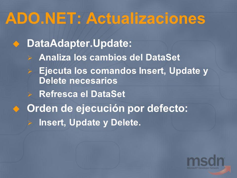ADO.NET: Actualizaciones DataAdapter.Update: Analiza los cambios del DataSet Ejecuta los comandos Insert, Update y Delete necesarios Refresca el DataS