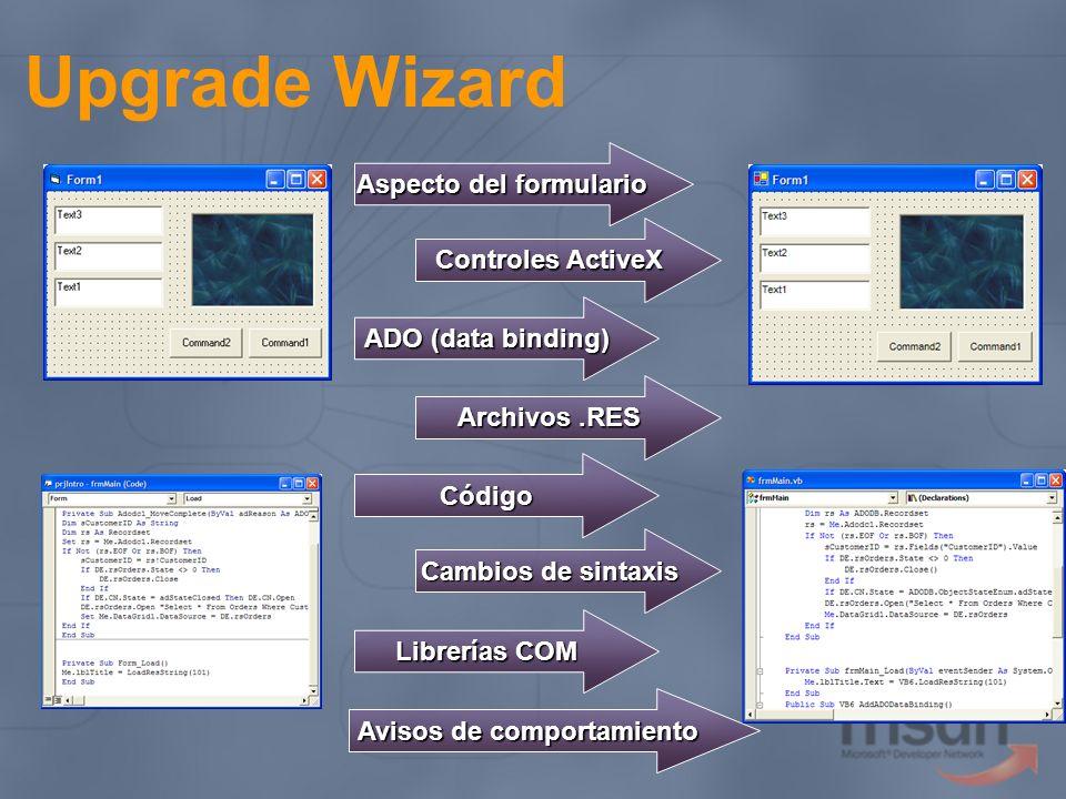 Upgrade Wizard Aspecto del formulario Controles ActiveX ADO (data binding) Código Cambios de sintaxis Librerías COM Archivos.RES Avisos de comportamie