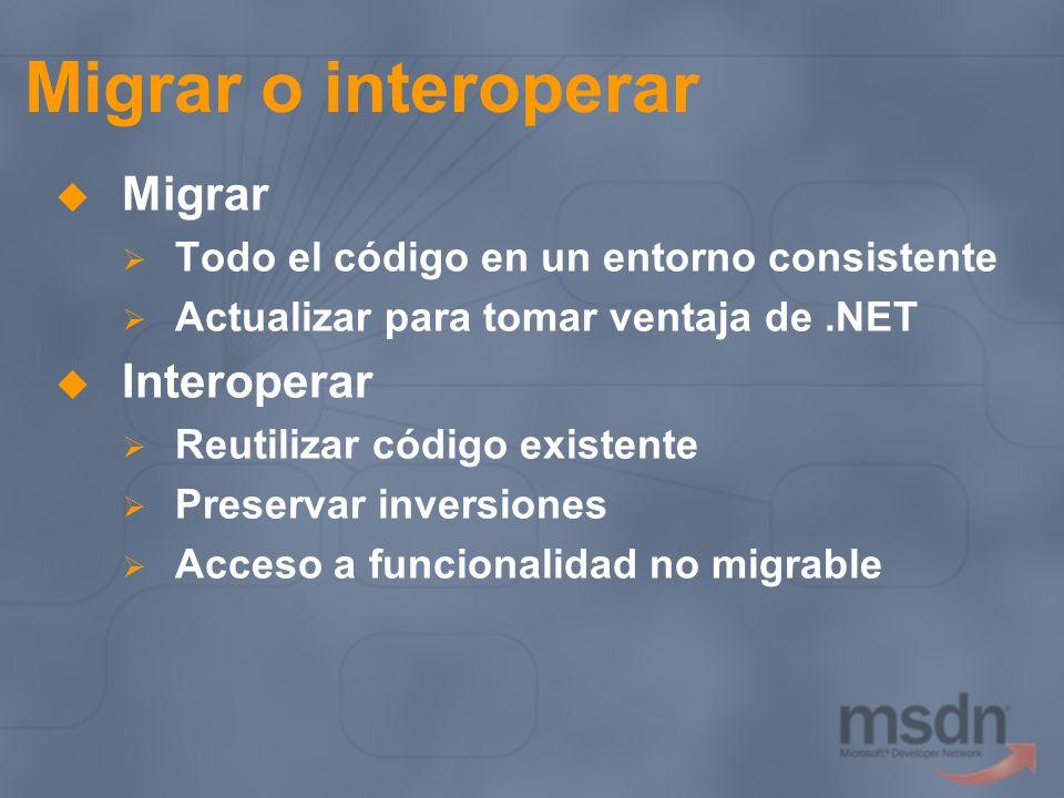Migrar o interoperar Migrar Todo el código en un entorno consistente Actualizar para tomar ventaja de.NET Interoperar Reutilizar código existente Pres