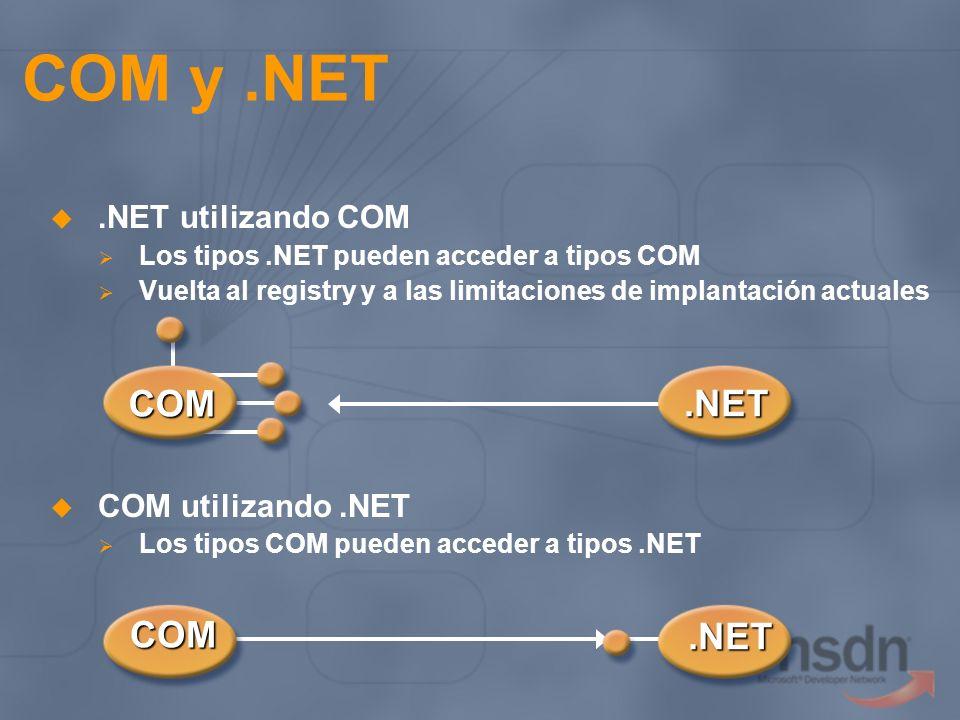 COM y.NET.NET utilizando COM Los tipos.NET pueden acceder a tipos COM Vuelta al registry y a las limitaciones de implantación actuales COM utilizando.