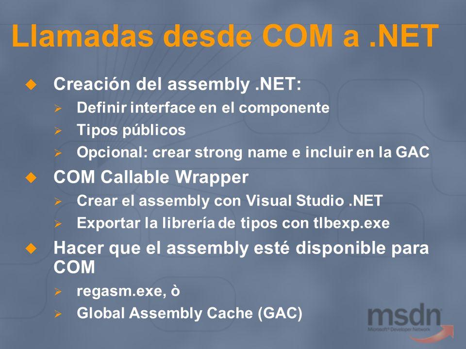 Llamadas desde COM a.NET Creación del assembly.NET: Definir interface en el componente Tipos públicos Opcional: crear strong name e incluir en la GAC