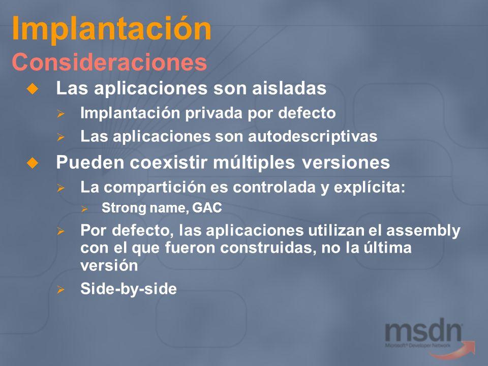 Implantación Consideraciones Las aplicaciones son aisladas Implantación privada por defecto Las aplicaciones son autodescriptivas Pueden coexistir múl