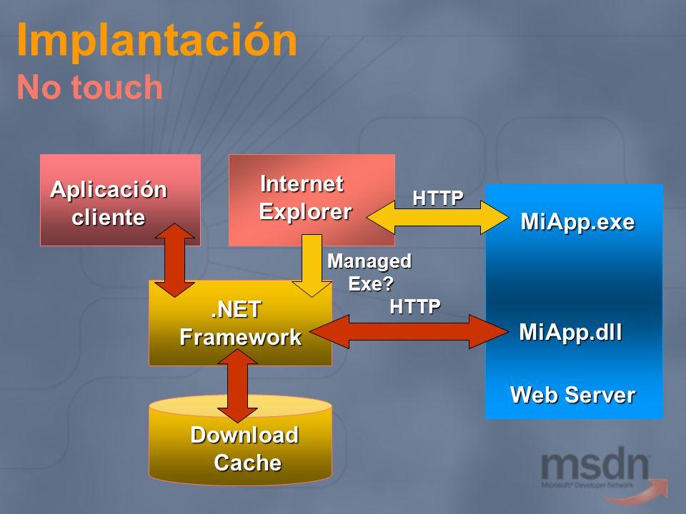 Implantación No touch MiApp.exe Web Server InternetExplorer DownloadCache Aplicacióncliente.NETFramework ManagedExe? MiApp.dll HTTP HTTP