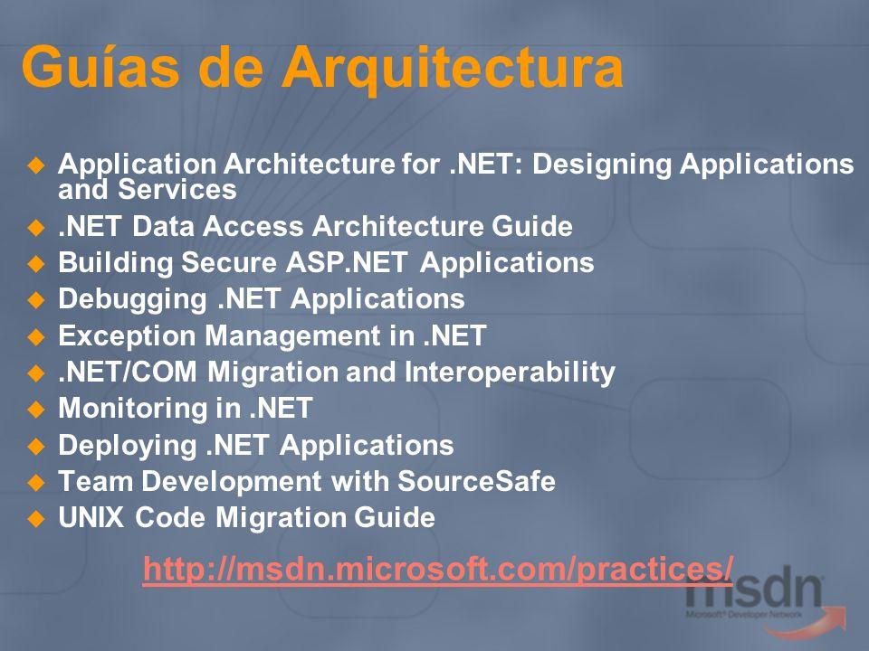Estándares de desarrollo Ayudan a escribir código robusto y seguro que funciona de manera consistente con el Framework.NET Facilitan la propiedad colectiva del código.NET Framework Design Guidelines http://msdn.microsoft.com/library/en- us/cpgenref/html/cpconnetframeworkdesignguideli nes.asp http://msdn.microsoft.com/library/en- us/cpgenref/html/cpconnetframeworkdesignguideli nes.asp FxCop: analiza el código managed para chequear las prácticas recomendadas http://www.gotdotnet.com/team/libraries/