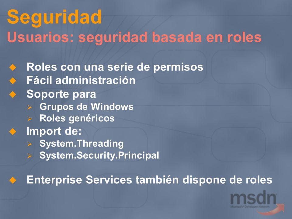 Seguridad Usuarios: seguridad basada en roles Roles con una serie de permisos Fácil administración Soporte para Grupos de Windows Roles genéricos Impo