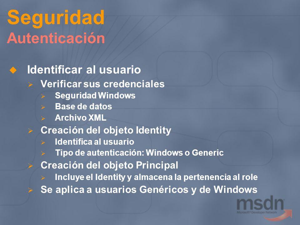 Seguridad Autenticación Identificar al usuario Verificar sus credenciales Seguridad Windows Base de datos Archivo XML Creación del objeto Identity Ide