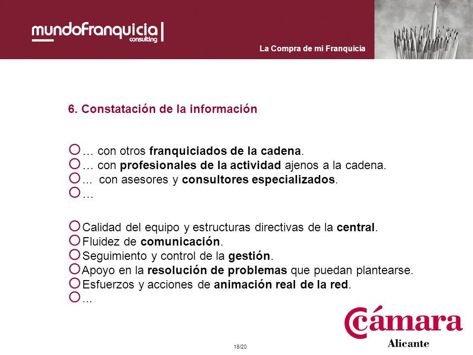 La Compra de mi Franquicia 6. Constatación de la información Calidad del equipo y estructuras directivas de la central. Fluidez de comunicación. Segui