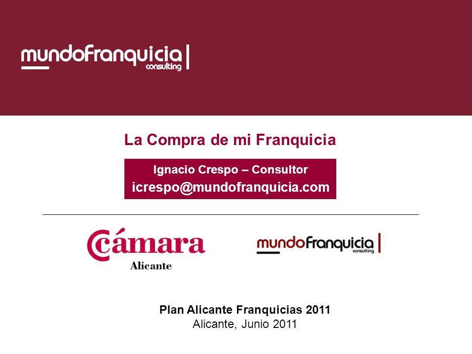 La Compra de mi Franquicia Plan Alicante Franquicias 2011 Alicante, Junio 2011 Ignacio Crespo – Consultor icrespo@mundofranquicia.com