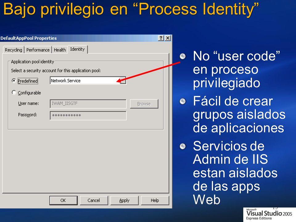 13 Bajo privilegio en Process Identity No user code en proceso privilegiado Fácil de crear grupos aislados de aplicaciones Servicios de Admin de IIS estan aislados de las apps Web No user code en proceso privilegiado Fácil de crear grupos aislados de aplicaciones Servicios de Admin de IIS estan aislados de las apps Web