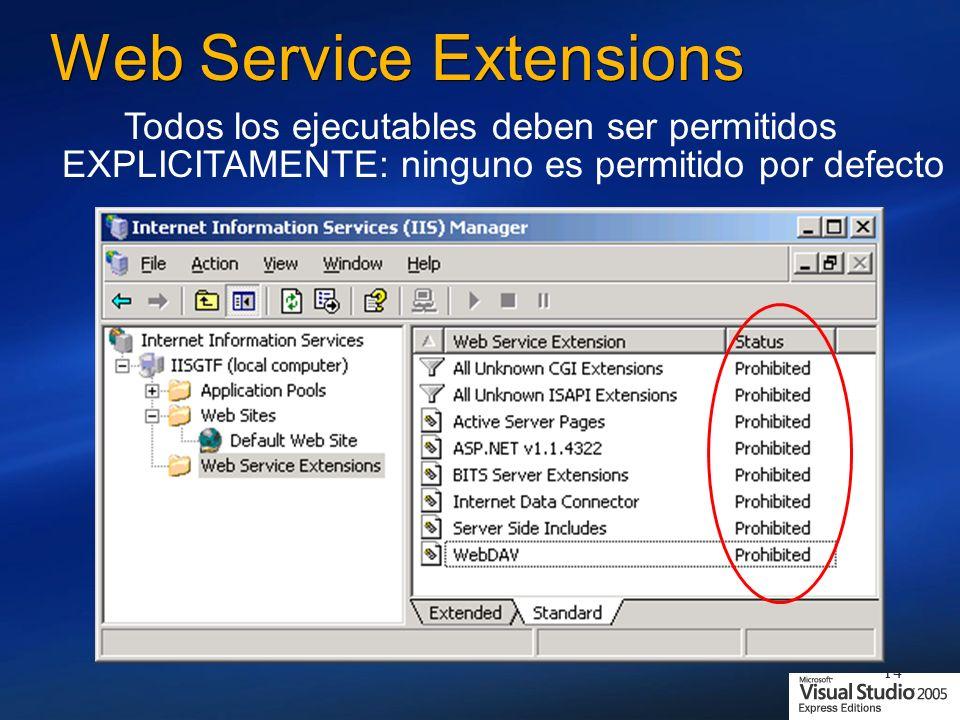 14 Web Service Extensions Todos los ejecutables deben ser permitidos EXPLICITAMENTE: ninguno es permitido por defecto
