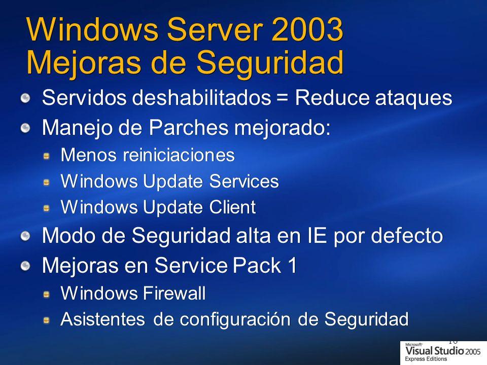 16 Windows Server 2003 Mejoras de Seguridad Servidos deshabilitados = Reduce ataques Manejo de Parches mejorado: Menos reiniciaciones Windows Update Services Windows Update Client Modo de Seguridad alta en IE por defecto Mejoras en Service Pack 1 Windows Firewall Asistentes de configuración de Seguridad Servidos deshabilitados = Reduce ataques Manejo de Parches mejorado: Menos reiniciaciones Windows Update Services Windows Update Client Modo de Seguridad alta en IE por defecto Mejoras en Service Pack 1 Windows Firewall Asistentes de configuración de Seguridad