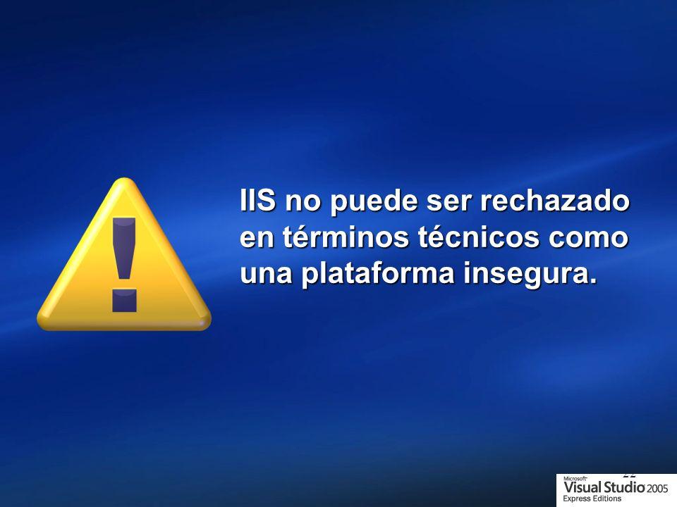 22 IIS no puede ser rechazado en términos técnicos como una plataforma insegura.