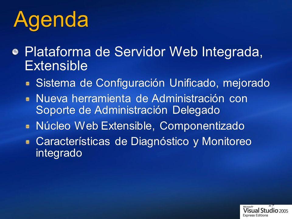 29 Agenda Plataforma de Servidor Web Integrada, Extensible Sistema de Configuración Unificado, mejorado Nueva herramienta de Administración con Soporte de Administración Delegado Núcleo Web Extensible, Componentizado Características de Diagnóstico y Monitoreo integrado Plataforma de Servidor Web Integrada, Extensible Sistema de Configuración Unificado, mejorado Nueva herramienta de Administración con Soporte de Administración Delegado Núcleo Web Extensible, Componentizado Características de Diagnóstico y Monitoreo integrado