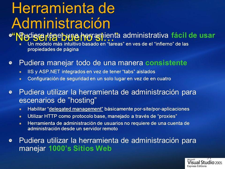 31 Herramienta de Administración No sería bueno si… Pudiera tener una herramienta administrativa fácil de usar Un modelo más intuitivo basado en tareas en ves de el infierno de las propiedades de página Pudiera manejar todo de una manera consistente IIS y ASP.NET integrados en vez de tener tabs aislados Configuración de seguridad en un solo lugar en vez de en cuatro Pudiera utilizar la herramienta de administración para escenarios de hosting Habilitar delegated management básicamente por-site/por-aplicaciones Utilizar HTTP como protocolo base, manejado a través de proxies Herramienta de administración de usuarios no requiere de una cuenta de administración desde un servidor remoto Pudiera utilizar la herramienta de administración para manejar 1000s Sitios Web Pudiera tener una herramienta administrativa fácil de usar Un modelo más intuitivo basado en tareas en ves de el infierno de las propiedades de página Pudiera manejar todo de una manera consistente IIS y ASP.NET integrados en vez de tener tabs aislados Configuración de seguridad en un solo lugar en vez de en cuatro Pudiera utilizar la herramienta de administración para escenarios de hosting Habilitar delegated management básicamente por-site/por-aplicaciones Utilizar HTTP como protocolo base, manejado a través de proxies Herramienta de administración de usuarios no requiere de una cuenta de administración desde un servidor remoto Pudiera utilizar la herramienta de administración para manejar 1000s Sitios Web
