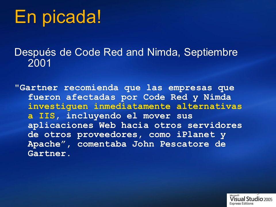 5 En picada! Después de Code Red and Nimda, Septiembre 2001