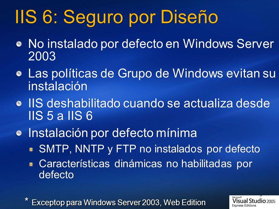 9 IIS 6: Seguro por Diseño No instalado por defecto en Windows Server 2003 Las políticas de Grupo de Windows evitan su instalación IIS deshabilitado cuando se actualiza desde IIS 5 a IIS 6 Instalación por defecto mínima SMTP, NNTP y FTP no instalados por defecto Características dinámicas no habilitadas por defecto No instalado por defecto en Windows Server 2003 Las políticas de Grupo de Windows evitan su instalación IIS deshabilitado cuando se actualiza desde IIS 5 a IIS 6 Instalación por defecto mínima SMTP, NNTP y FTP no instalados por defecto Características dinámicas no habilitadas por defecto * Exceptop para Windows Server 2003, Web Edition