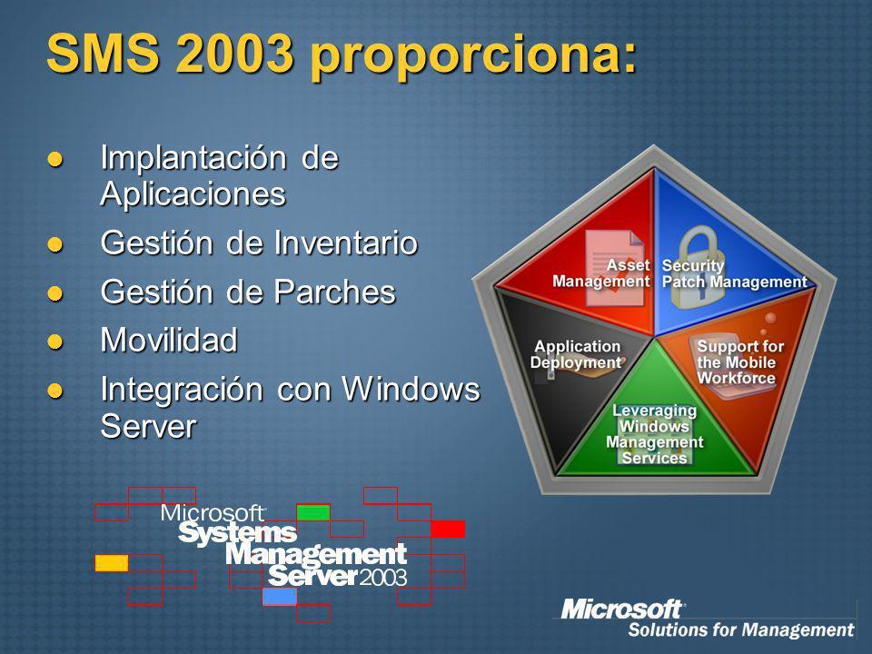 SMS 2003 proporciona: Implantación de Aplicaciones Implantación de Aplicaciones Gestión de Inventario Gestión de Inventario Gestión de Parches Gestión de Parches Movilidad Movilidad Integración con Windows Server Integración con Windows Server