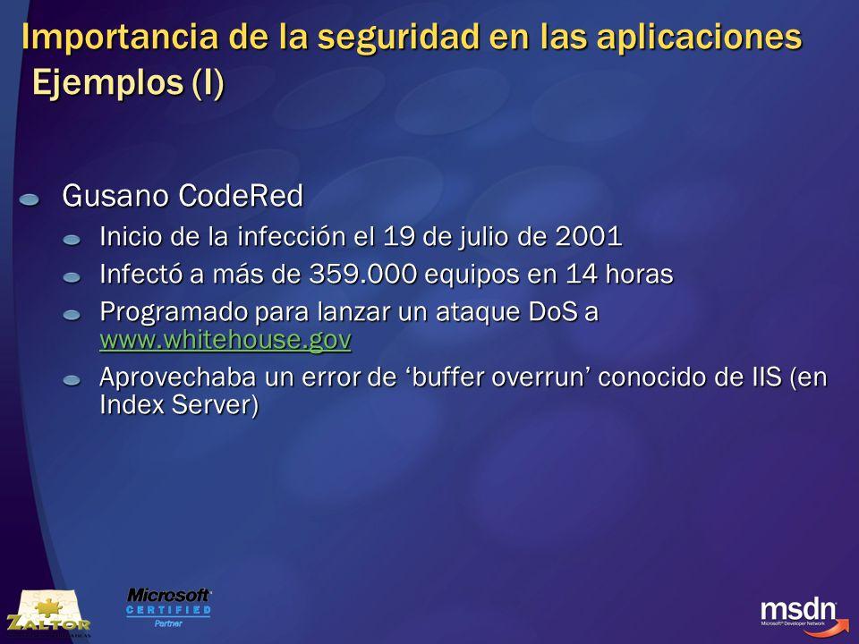 Importancia de la seguridad en las aplicaciones Ejemplos (I) Gusano CodeRed Inicio de la infección el 19 de julio de 2001 Infectó a más de 359.000 equ