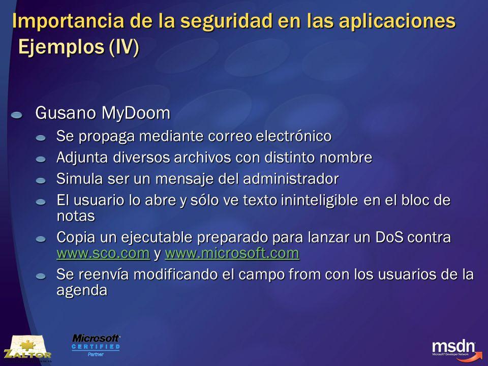 Importancia de la seguridad en las aplicaciones Ejemplos (IV) Gusano MyDoom Se propaga mediante correo electrónico Adjunta diversos archivos con disti