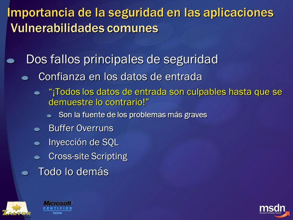 Importancia de la seguridad en las aplicaciones Vulnerabilidades comunes Dos fallos principales de seguridad Confianza en los datos de entrada ¡Todos