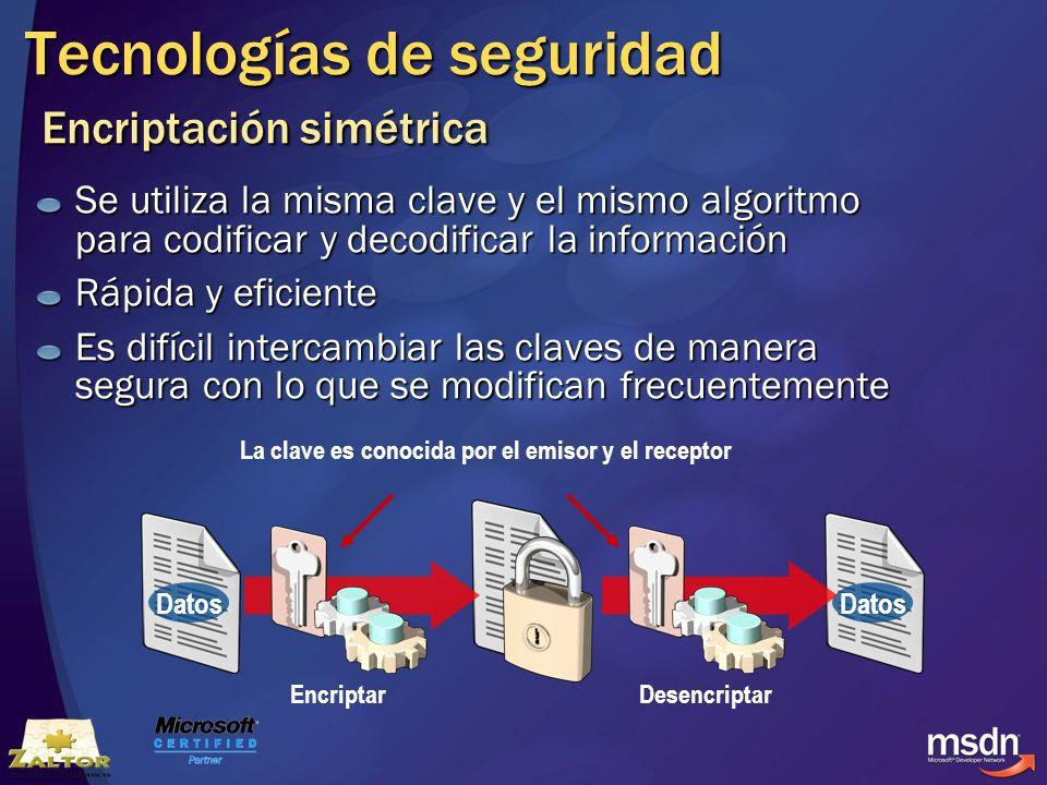 Tecnologías de seguridad Encriptación simétrica Se utiliza la misma clave y el mismo algoritmo para codificar y decodificar la información Rápida y ef