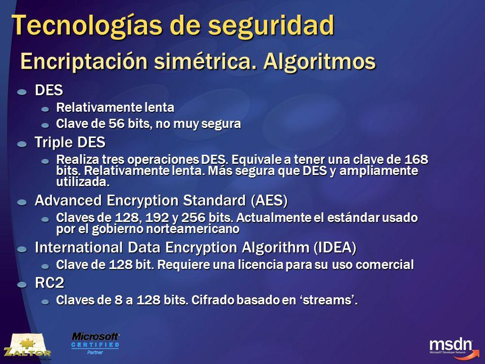 Tecnologías de seguridad Encriptación simétrica. Algoritmos DES Relativamente lenta Clave de 56 bits, no muy segura Triple DES Realiza tres operacione