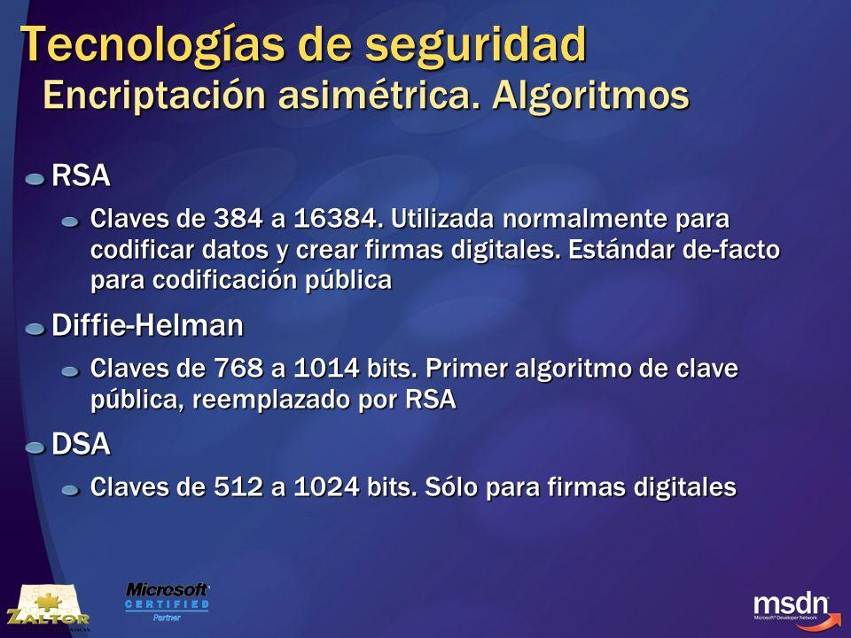 Tecnologías de seguridad Encriptación asimétrica. Algoritmos RSA Claves de 384 a 16384. Utilizada normalmente para codificar datos y crear firmas digi