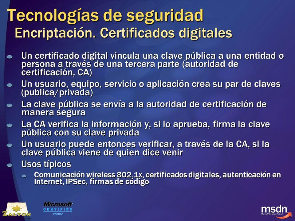 Tecnologías de seguridad Encriptación. Certificados digitales Un certificado digital vincula una clave pública a una entidad o persona a través de una
