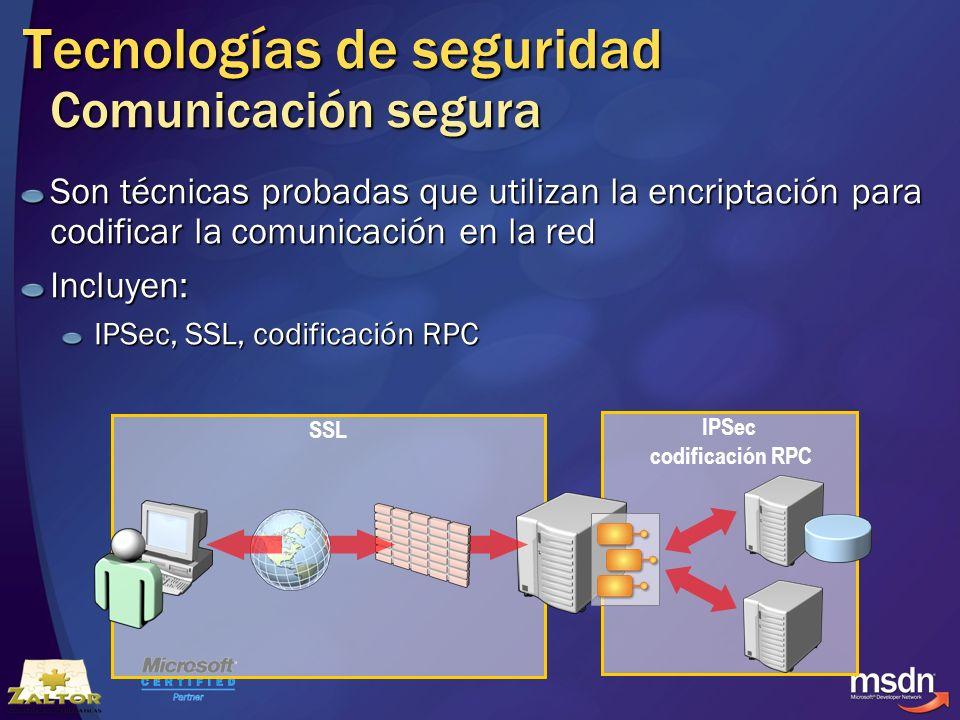 Tecnologías de seguridad Comunicación segura Son técnicas probadas que utilizan la encriptación para codificar la comunicación en la red Incluyen: IPS