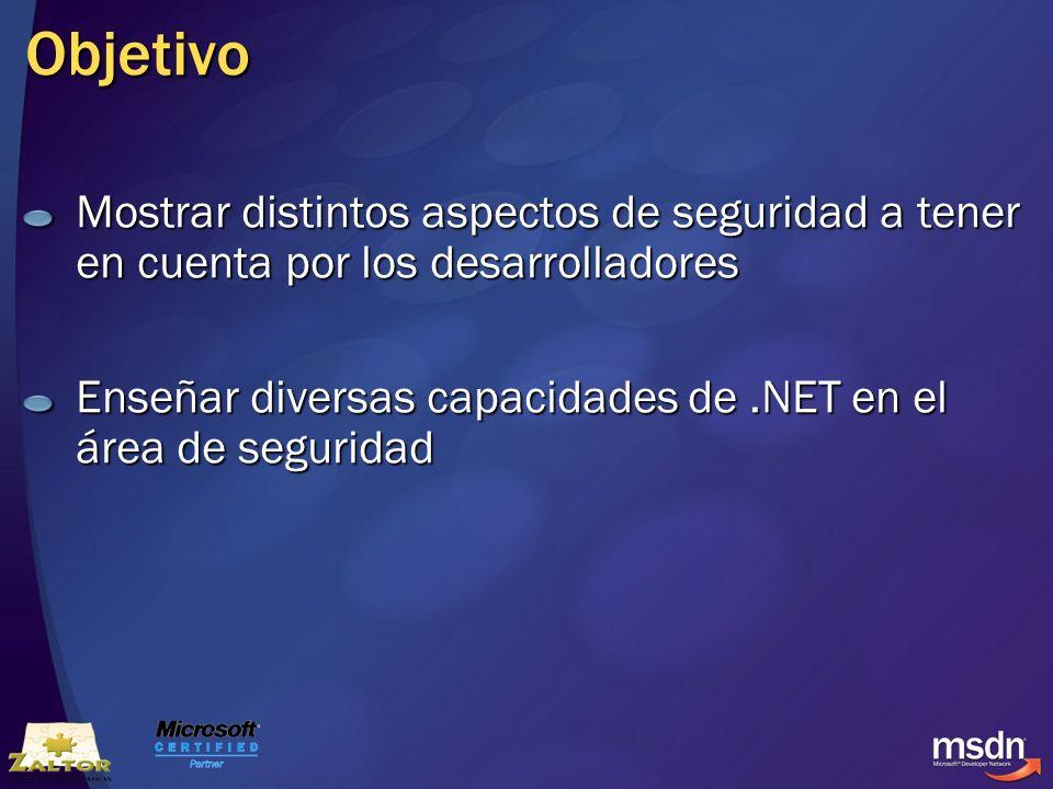 Objetivo Mostrar distintos aspectos de seguridad a tener en cuenta por los desarrolladores Enseñar diversas capacidades de.NET en el área de seguridad