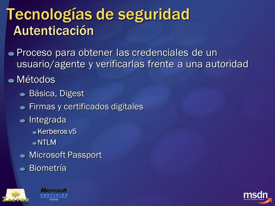 Tecnologías de seguridad Autenticación Proceso para obtener las credenciales de un usuario/agente y verificarlas frente a una autoridad Métodos Básica