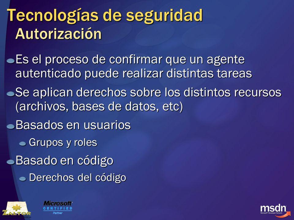 Tecnologías de seguridad Autorización Es el proceso de confirmar que un agente autenticado puede realizar distintas tareas Se aplican derechos sobre l