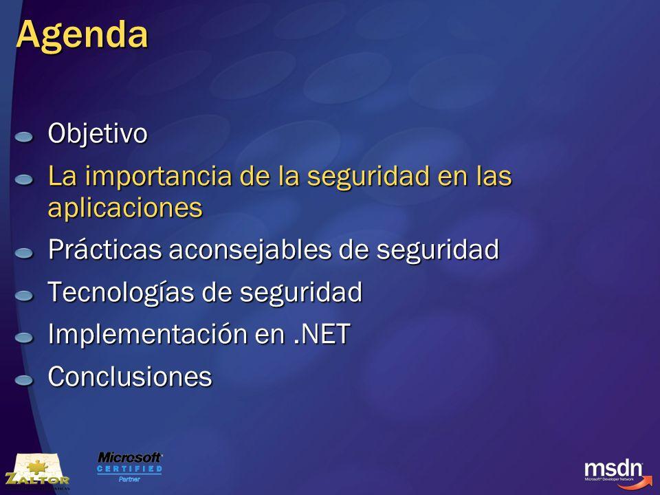 Agenda Objetivo La importancia de la seguridad en las aplicaciones Prácticas aconsejables de seguridad Tecnologías de seguridad Implementación en.NET