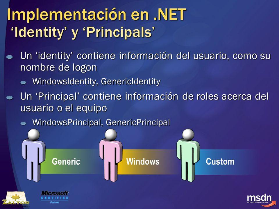 Implementación en.NET Identity y Principals Un identity contiene información del usuario, como su nombre de logon WindowsIdentity, GenericIdentity Un