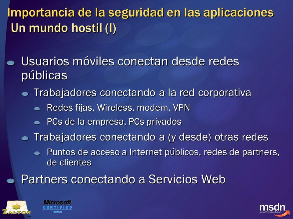 Importancia de la seguridad en las aplicaciones Un mundo hostil (I) Usuarios móviles conectan desde redes públicas Trabajadores conectando a la red co